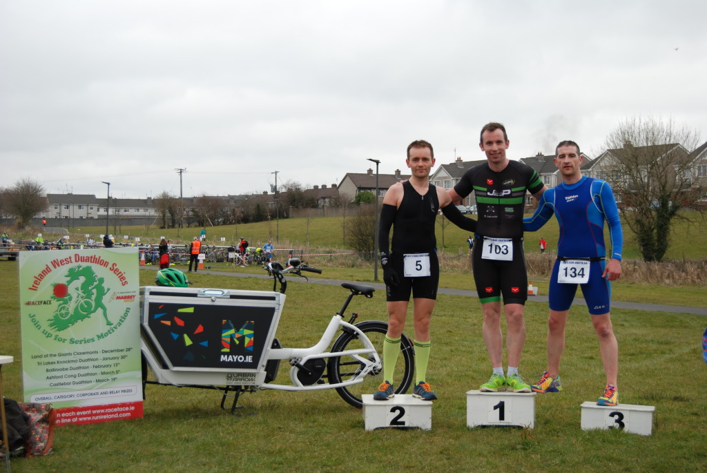 Mens podium L to R Brendan Conway Westport Tri 2nd, Peter Tuohy J2P 1st, Jonathon Rowland Liquid Motion Ballina 3rd